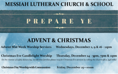 Advent & Christmas Schedule for 2020